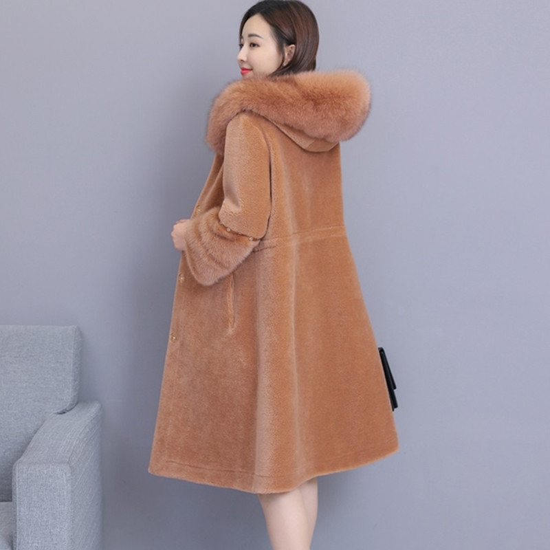 UHYTGF Winter faux fur Coat Women Sheep sheared Slim Coat luxury Mink hair Warm Outerwear faux Fox fur Hooded fur Overcoat 951-in Faux Fur from Women's Clothing    2