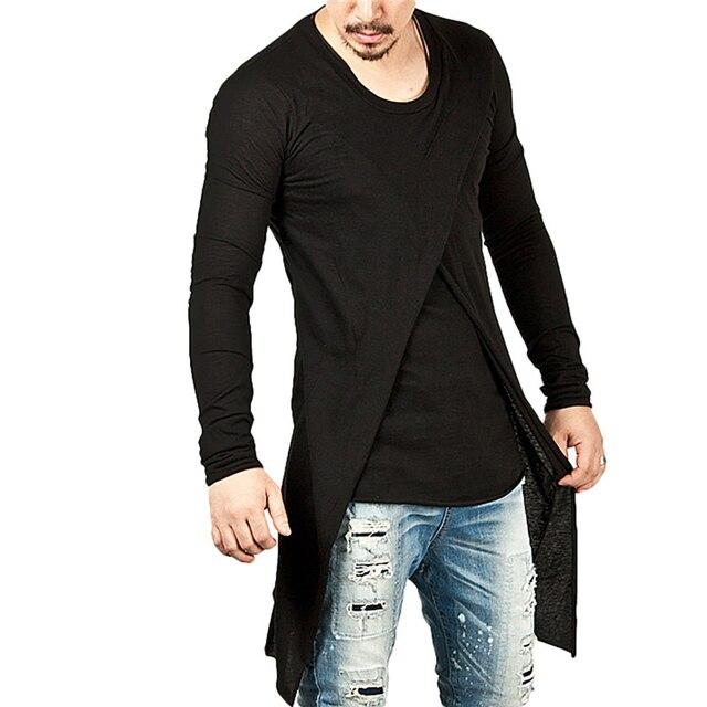 032d0264cf96 Ripped Men Tee Shirt Slim Fit O Neck Long Sleeve T Shirt Irregular Long Top  Muscle Casual Tops Black T-Shirts