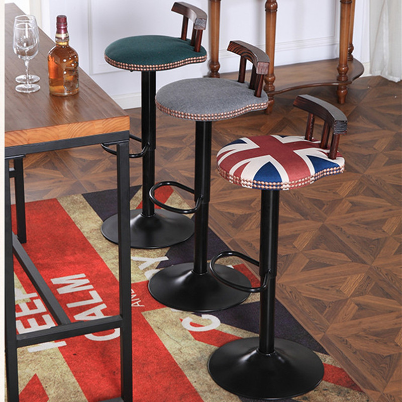 industrial vintage rustic retro swivel counter bar stool cafe chair with backrest restaurant bar cafe home