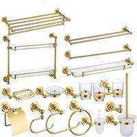 Gold Brass Copper High quality 16PCS/Set Golden bathroom ware Bathroom hardware accessories Set