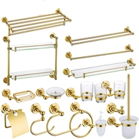 Gold Brass Copper High quality 16PCS/Set Golden bathroom ware Bathroom hardware accessories Set