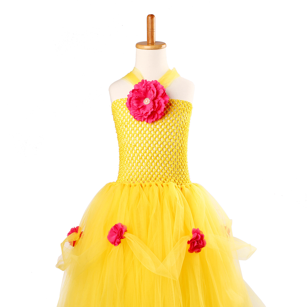 Yellow Princess Belle Tutu Dress The Beauty and the Beast Inspired Girls Birthday Party Dress Kids Photo Cosplay Costumes Vestidos (11)