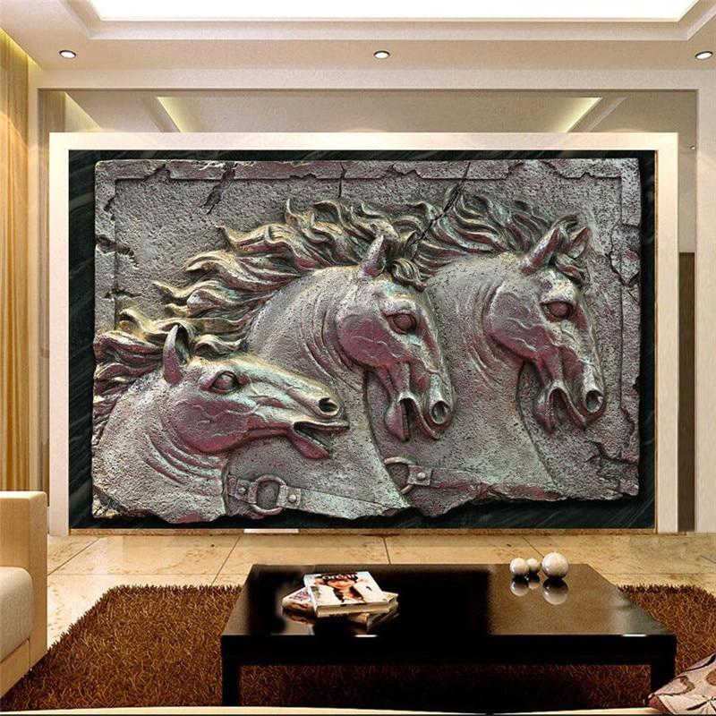 murals-3d wallpapers home decor Photo background wallpaper Horse sculpture metal style hotel bathroom large wall art murals-3d