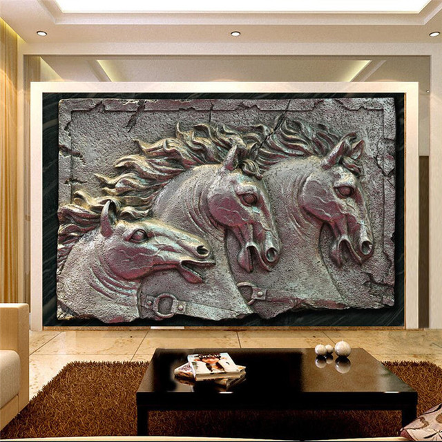 Murals Wallpapers Home Decor Photo Background Wallpaper Horse Sculpture Metal Style Hotel Bathroom Large