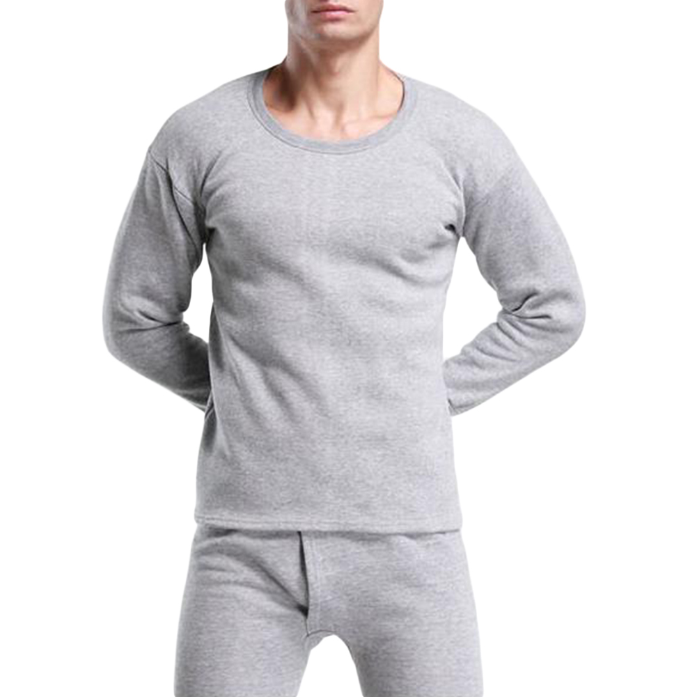 New Fashion Winter Men's Ultra Soft Thermal Underwear Set Top T-shirt + Long Pants