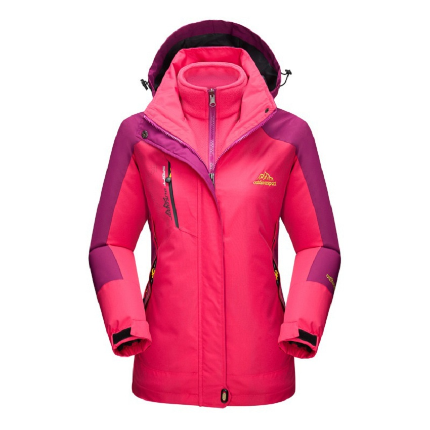 Women Winter 2 pieces Softshell Fleece Jackets Outdoor Sports Waterproof Thermal Hiking Skiing Female Coats RW015 стоимость