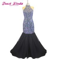 Long Graduation Dresses Rhinestone Prom Dresses Unique Halter Top Floor Length Black Mermaid Prom Dresses Robe