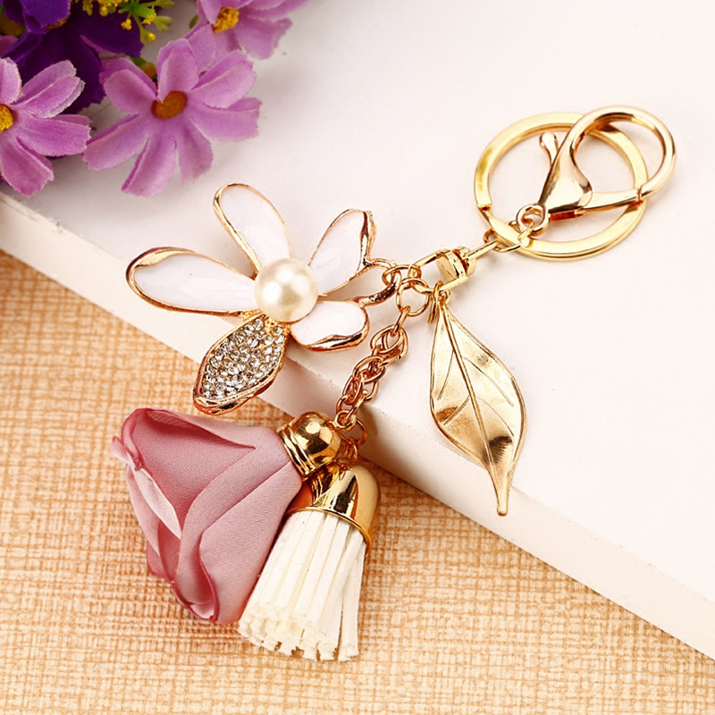Fancy&Fantasy Flower Key Ring Chiffon Tassel Car Keychains Lady Couple Bag Ornaments Creative Fashion Charm Flower Keychain
