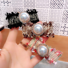 Korea Color Matching Plaid pearl Rim Hairpin Hair Clips For Women Hairgrips Girls Barrette Accessories  Bows