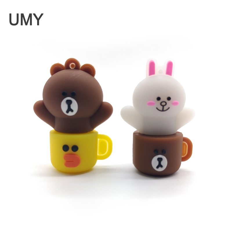 Cartoon Cup Usb Flash Drive 64gb 32gb 16gb 8gb 4gb Rabbit Memory Stick Bear Pen Drive Full Capacity Pendrive Cle Usb 2.0 Gifts