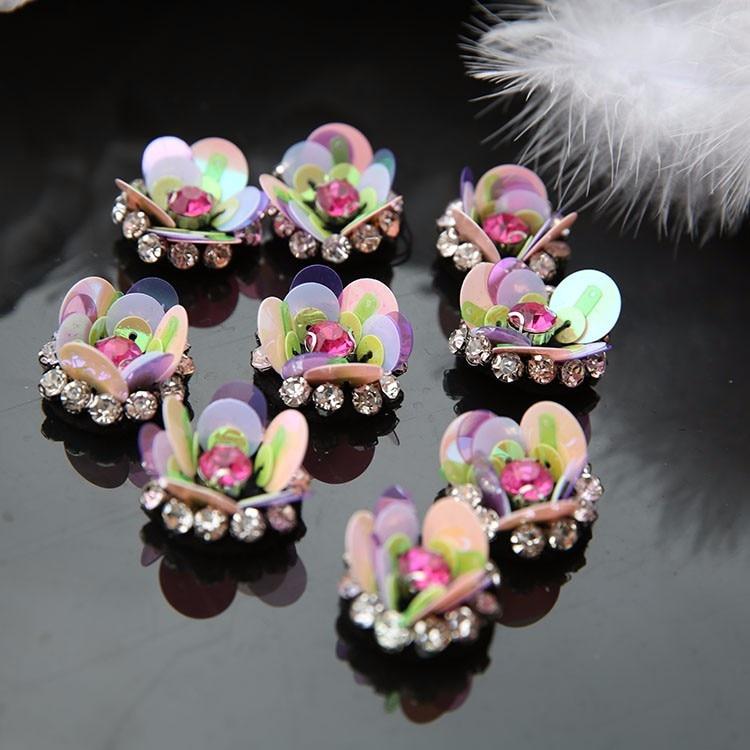 10Pcs/Lot High-end lace patch clothing headdress shoes manual nail bead flower applique sequins bead piece decoration