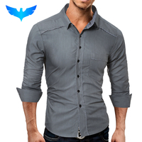 QINGYU Brand 2017 Fashion Male Shirt Long Sleeves Tops Classic Package Edge Solid Mens Dress Shirts