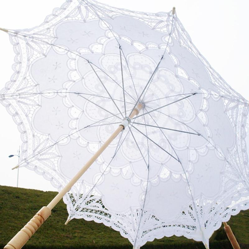 48cm10K  White Transparent Umbrella Lace Cute Small Clear Victorian Embroidery Wedding Bridal Parasol Z510