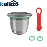 Stainless Steel Metal Nespresso Reusable Capsule Refillable Reusable for Nespresso Machine+ 1 Spoon + 2 Rings