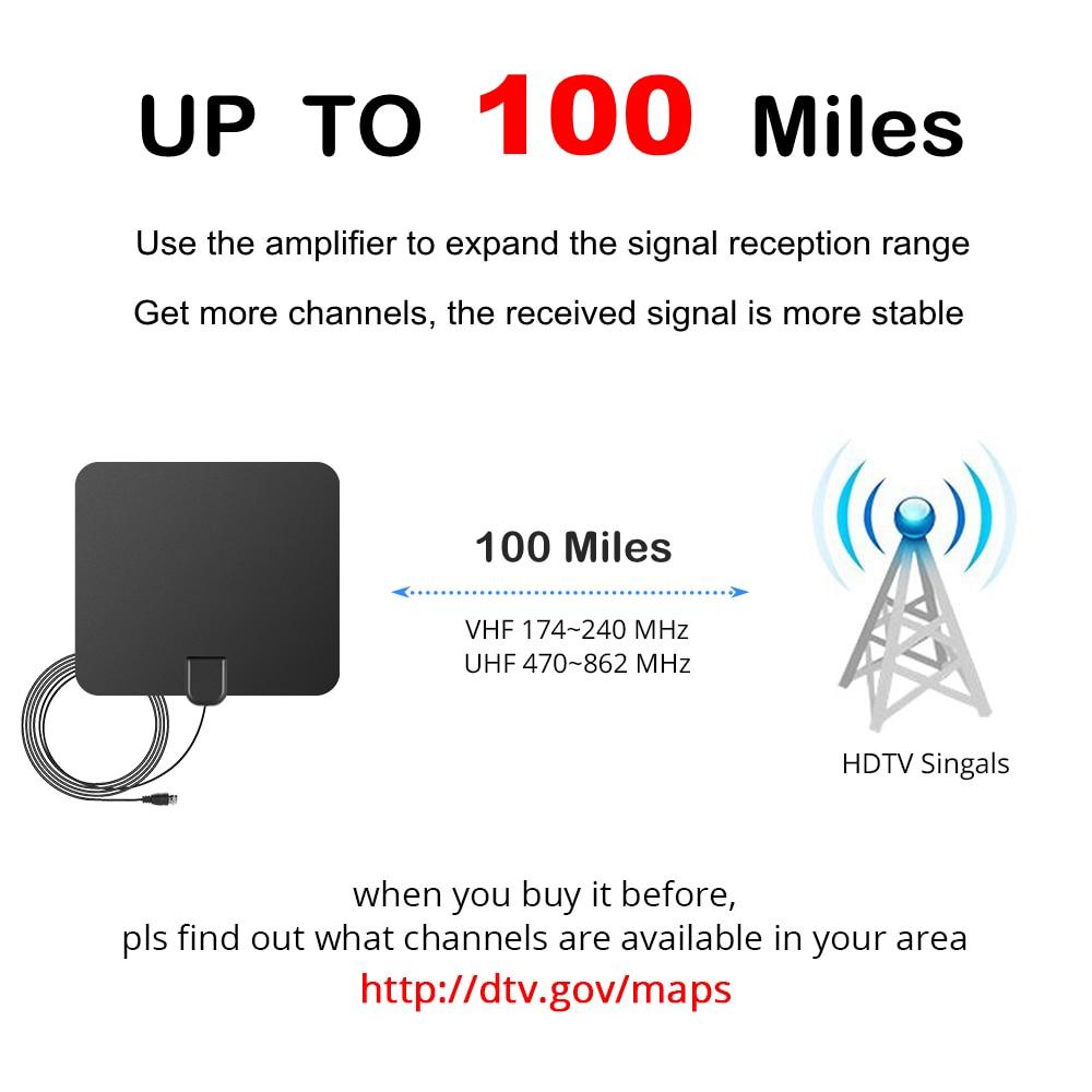 100 Miles Antena TV Digital HDTV Innen TV Antenne mit Signal ... on