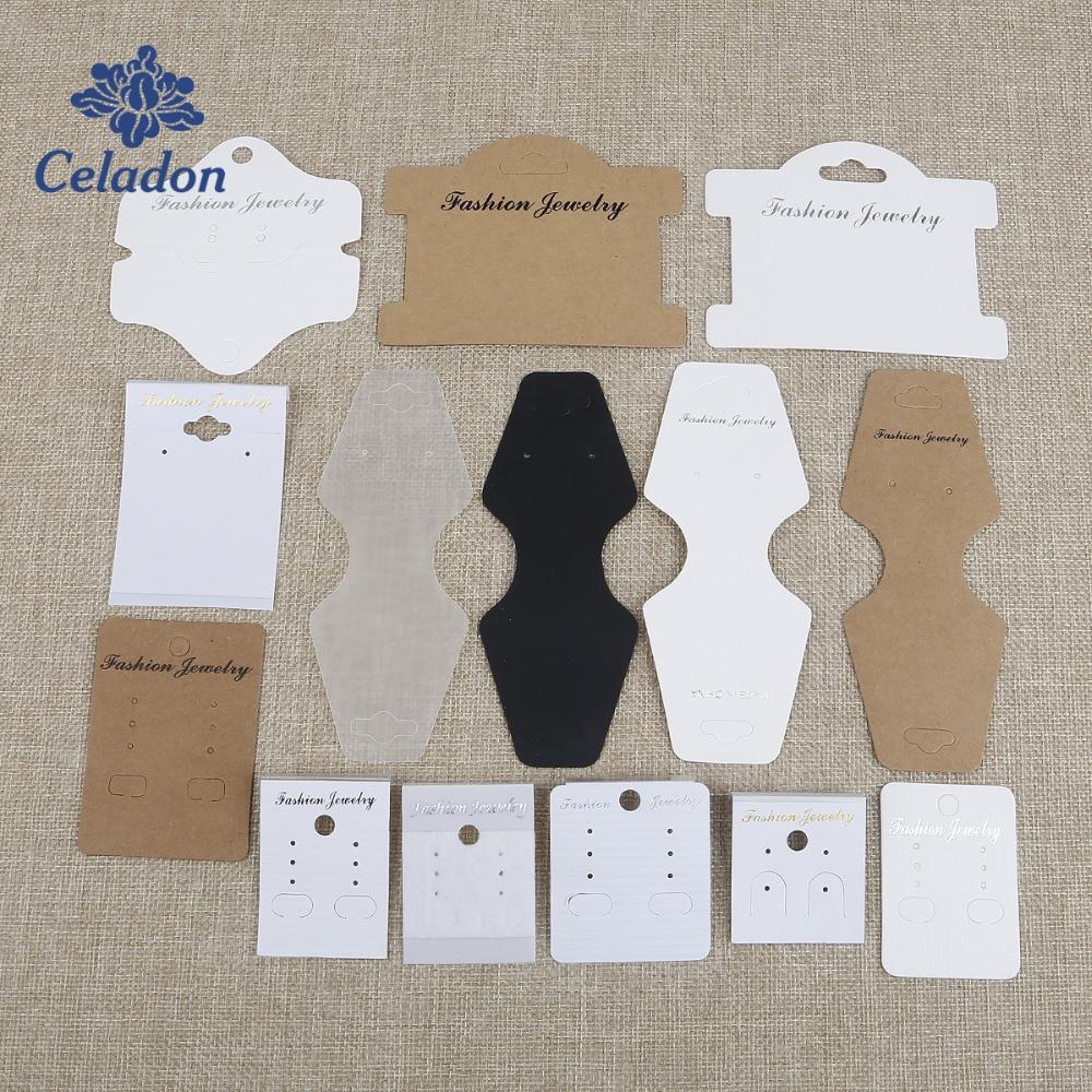 100pcs Black Velvet Kraft Paper Display Cards for Earrings Hanging Cards