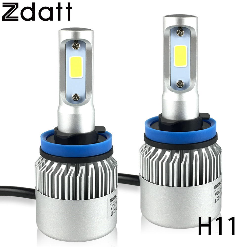 ФОТО 2Pcs Super Bright H11 Led Lamp 72W 8000LM Car Led Headlight Bulbs Fog Light 12V All In One Conversion Kit 6500K White Automobile