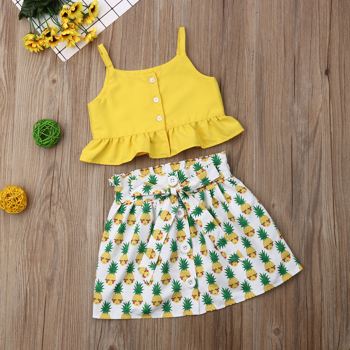 2019 2pcs Newborn Kid Baby Girl Sleeveless Tops Pineapple Skirts Outfit Summer Clothes Set
