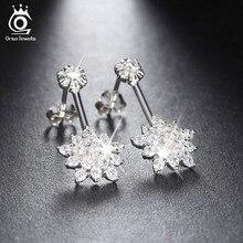 Cute Crystal Flower 925 Silver Stud Earring for Ladies Sterling Silver Allure CZ Diamond Earrings 2016 New Model SE03