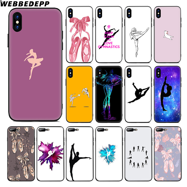 WEBBEDEPP <font><b>Gymnastics</b></font> Ballet Soft Silicone Case for Apple iPhone 11 Pro Xr Xs Max X or 10 8 7 6 6S Plus 5 5S SE TPU image