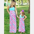 2016 summer mother daughter dress fashion family matching clothes maxi dress family look Family clothing mother daughter clothes