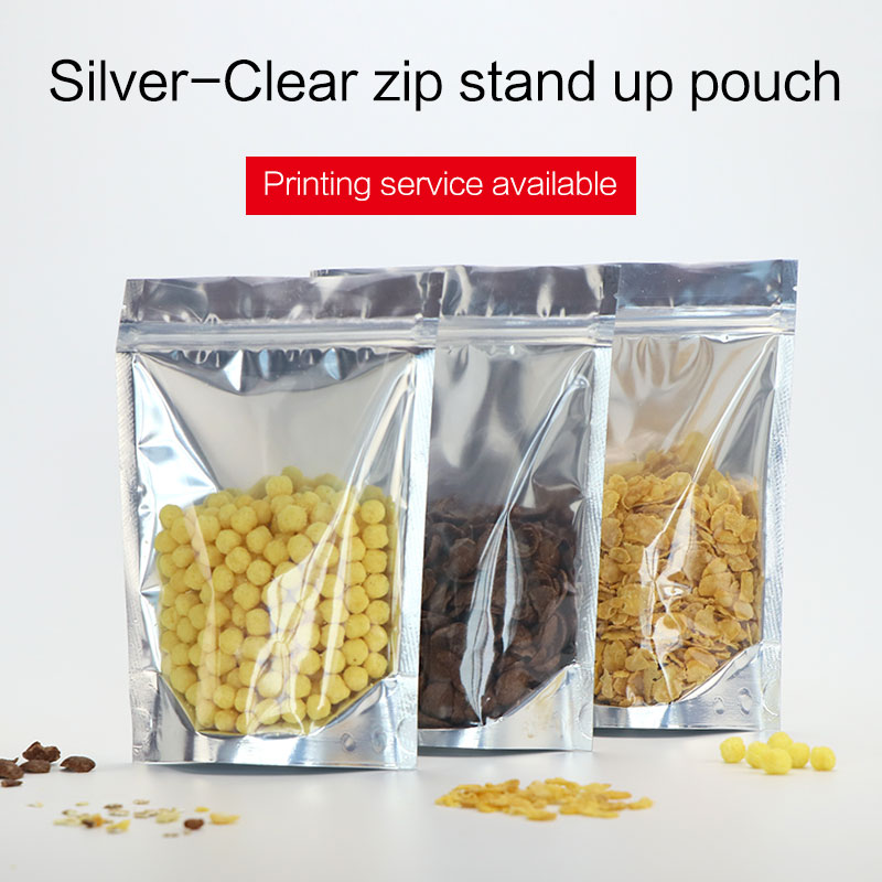 დადგეთ ჩანთა zipper მეტალის ალუმინის zip ჩაკეტვის ჩანთით, საკვები დაფასოების ჩანთებით