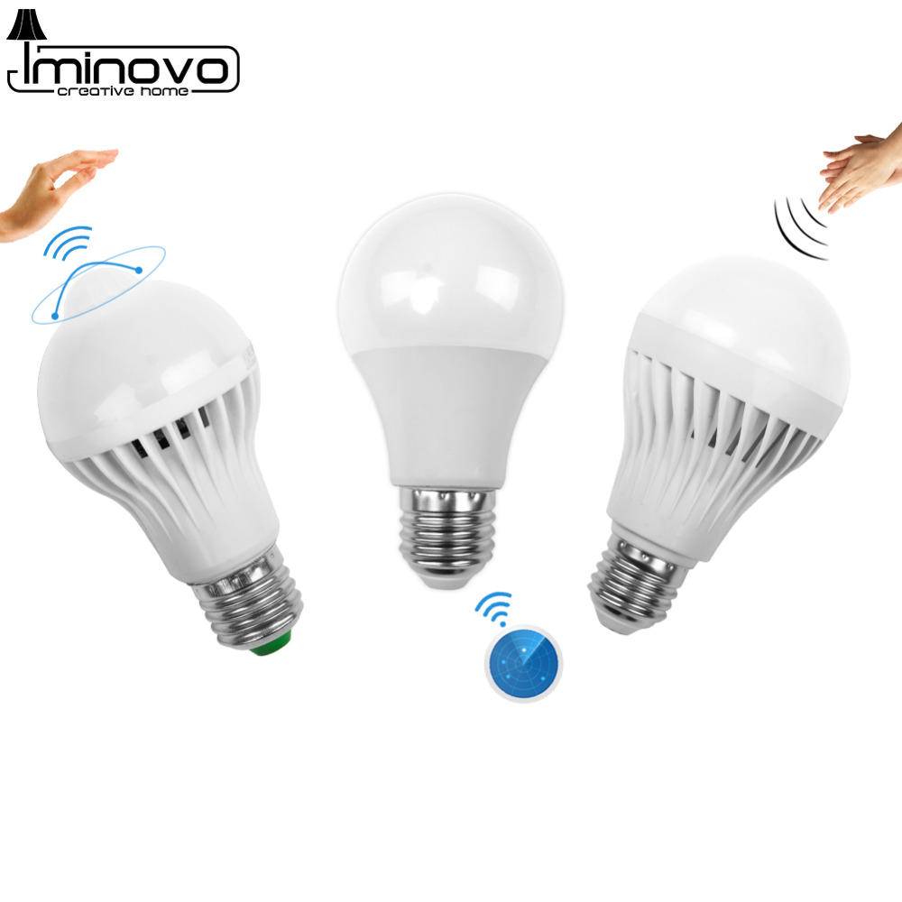 Led Bulb Motion Sensor Smart PIR Lamp E14 E27 Auto Sound Light Radar Infrared Body Lamp 3W 5W 7W 9W 12W 110V 220V Home Decor smuxi motion sensor led light bulb e27 b22 5w 7w 12w smart pir sensor led lamp bulb auto on off night lighting ac85v 265v