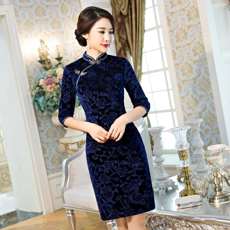 f0af85d1112f7 Russia Vintage Women s Velour Short Cheongsam Fashion Chinese Style Dress  Elegant Qipao Size M L XL XXL XXXL F092804