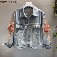 New 3D Flower Denim Jacket Jeans Women Fashion Embroidery Cowboy Jean Jackets Female Short Denim Coat Girls Outwear