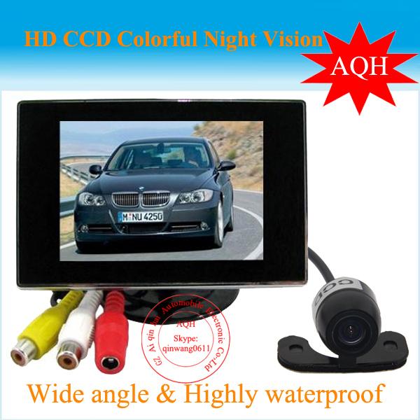 Envío gratis 3.5 pulgadas TFT LCD Monitor del coche Video trasera que invierte el estacionamiento de copia de seguridad IR noche Kit de cámara