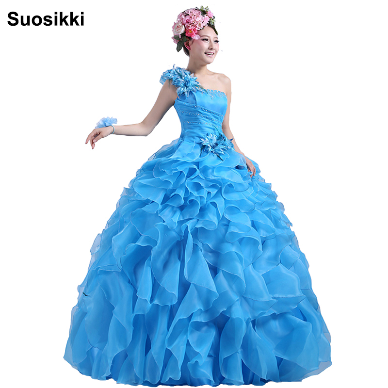 Suosikki Romantic 2018 Colourful Organza A line Perline Increspato Una spalla Abito da sposa Sposa Beautiful Party Vestidos De Novia