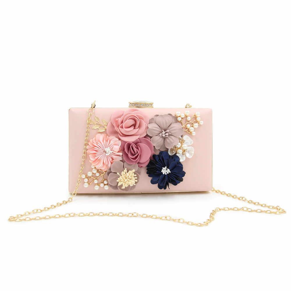 a30d3a9b4663 ... Milisente сумочки-клатча для Для женщин Цветочный клатч невесты  свадебные сумочки со стразами жемчужина цепь