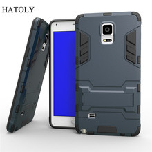 For Samsung Note 4 Case N9100 Slim Shockproof Robot Armor Protector Hybrid Rugged Rubber Hard Back Stand Cover Coque