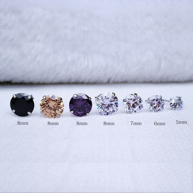 Round Cut CZ 5mm Men Women Silver Stud Earrings Champagne Red Purple Earrings