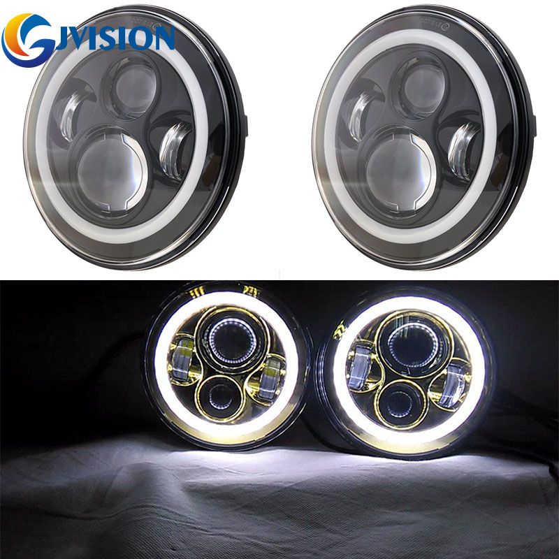 7 inch Round LED Headlight Conversion Kit DRL Light Assembly for Jeep Wrangler JK TJ FJ Hummer Trucks Motorcycle headlamp купить