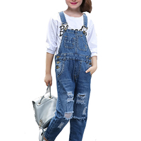 Girls Sets For Kids Denim Overall Pants 2018 New Hot Casual Broken Hole Jeans T Shirts