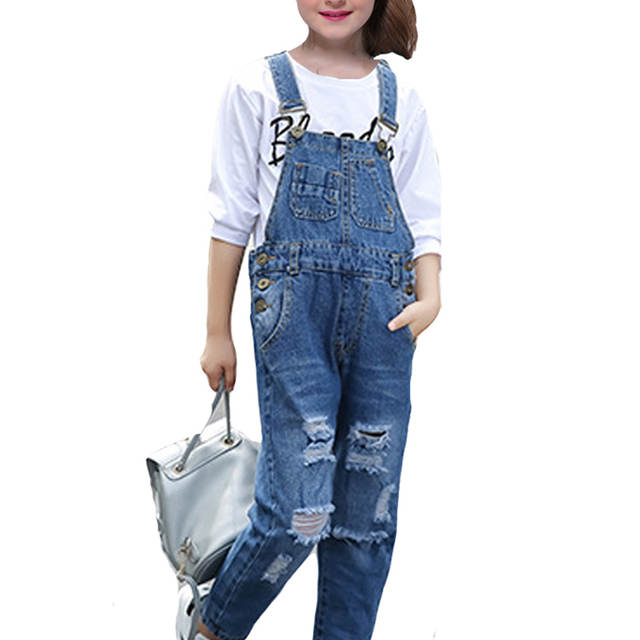 aae1eaae2 Online Shop Girls Sets for Kids Denim Overall Pants 2018 New Hot Casual  Broken Hole Jeans + T-shirts 2pcs Children Clothes 6 8 10 12 Years