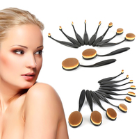 10PC Set New Pro Cosmetic Makeup Face Powder Blusher Toothbrush Curve Foundation Brush Freeshipping Party Girl