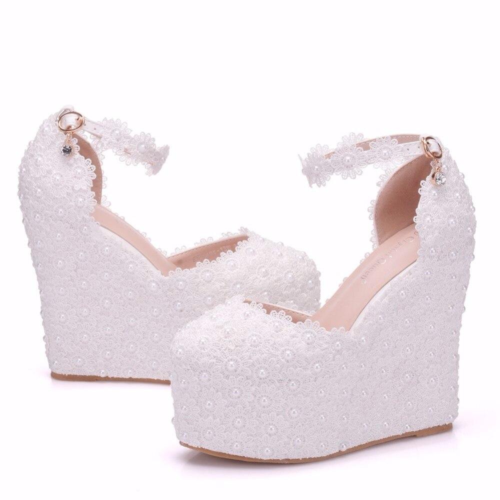 クリスタル女王13センチプラットフォームウェッジパンプスハイヒール靴女性ホワイトレースウェディングかかと丸いつま先プラットフォームシューズ高ウェッジ  グループ上の 靴 からの レディースパンプス の中 2