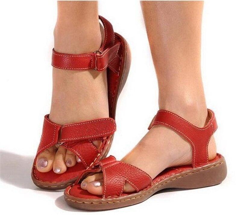 Genuine leather women sandals cowhide cas