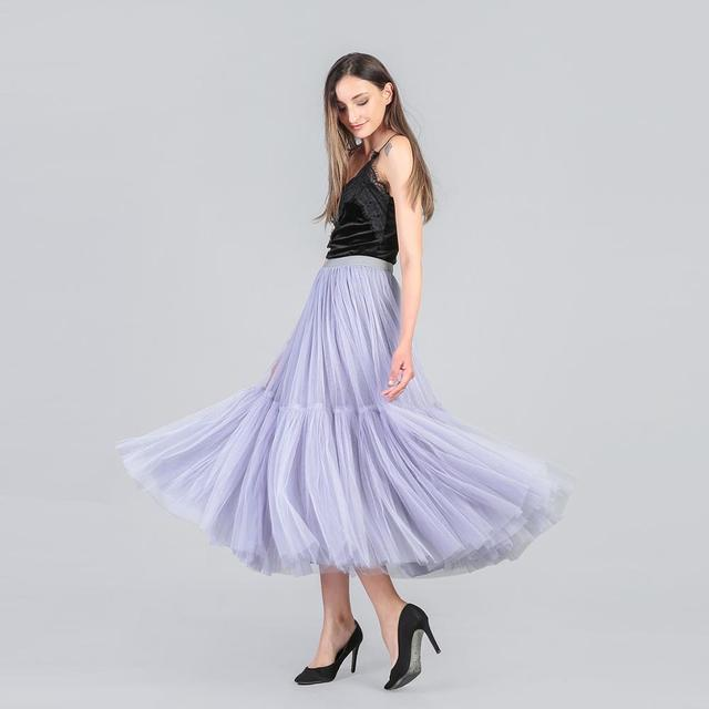 3 Colors 90 cm Runway Luxury Soft Tulle Skirt Hand-made Maxi Long Pleated Skirts Womens Vintage Petticoat Voile Jupes Falda 5