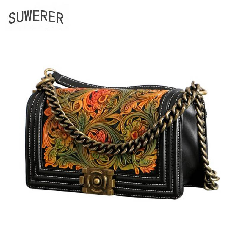 SUWERER 2019 New women genuine leather bag fashion Hand carved flowers top Luxury cowhide handbag women genuine leather handbagsSUWERER 2019 New women genuine leather bag fashion Hand carved flowers top Luxury cowhide handbag women genuine leather handbags