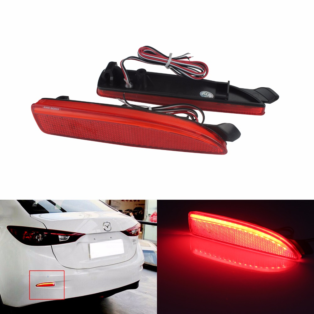 ANGRONG 2x Red Lens Rear Bumper Reflector LED Tail Stop <font><b>Light</b></font> For <font><b>Mazda</b></font> 2 5 <font><b>6</b></font> Mazda3 BK BM 4D(CA240) image