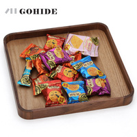 JUH A Handcraft Wood Tray Square (25*25cm) Wooden Dish Tray Coffee Milk Tea Serving Wood Fruit Dish Square Modern Candy Dishes