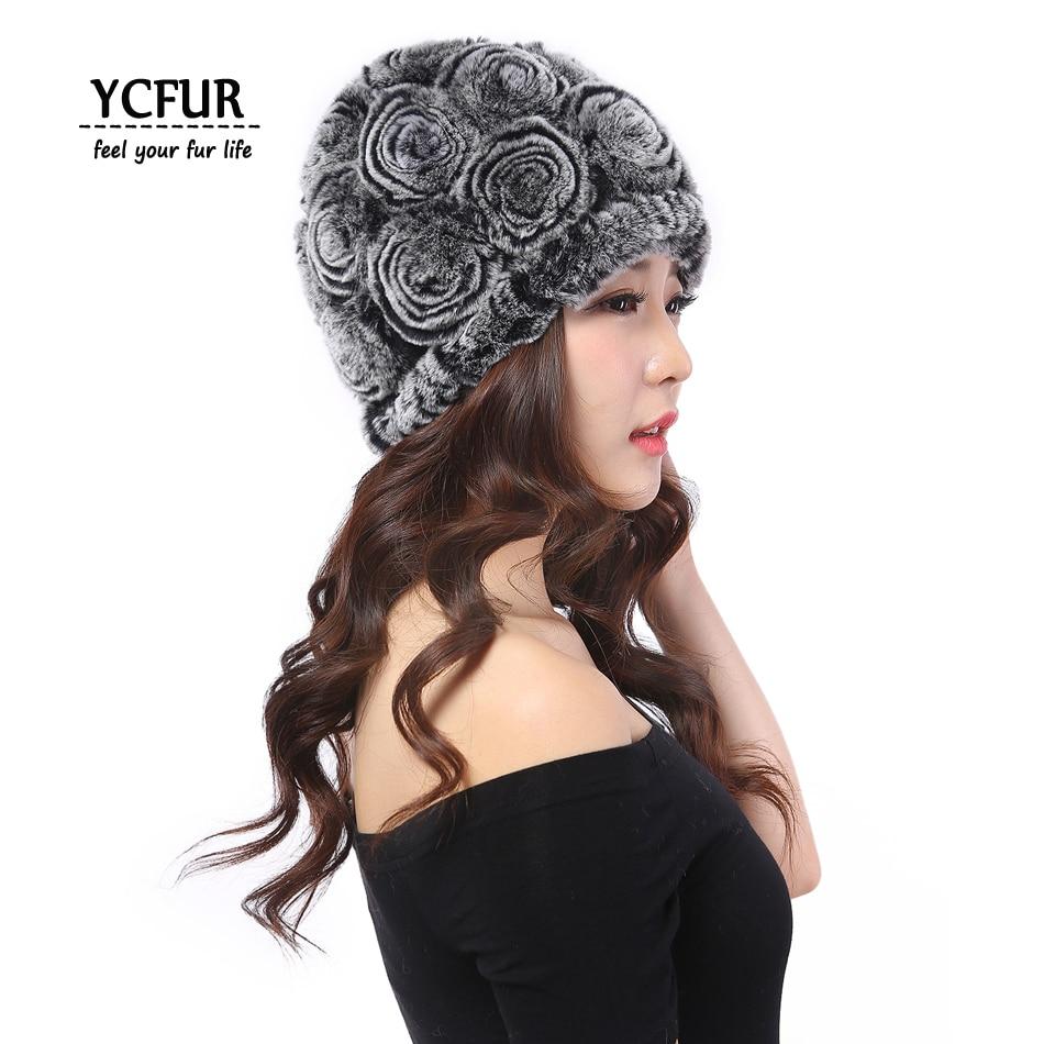 YCFUR Women Hats Winter Warm Soft 20 colors Knit Natural Rex Rabbit Fur Flower Female Beanies Hats For Girls Caps Winter
