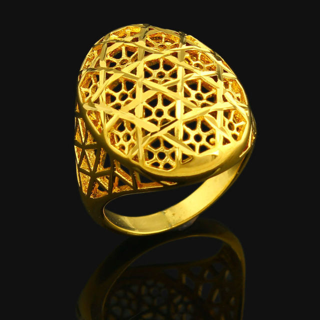 Ring For Women 24k Gold Color Ethiopian Wedding India African Nigerian