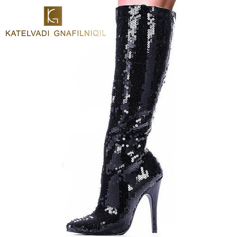 12Cm High Heels Women Boots Black Glitter Women Sexy Knee -2789
