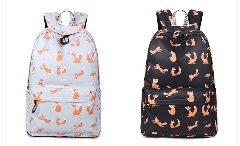 WINNER Cute Animal Fox Printing School Backpacks Waterproof Women Bag Laptop Backpack Female Mochila Bolsas E Sacolas (34)