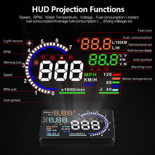 5.5 inch Universal HUD Display Head Up Display car OBD2 II Headup Speed smart gauge Auto OBD 2 Digital Speedometer windshield autool x50 x60 plus pro hud head up display car computer auto projector film obd 2 ii gauge digital speedometer diagnostic tools