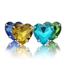 50pcs/lot Heart shape Rhinestones Glass Crystals Claw Cup Sew On Dress Strass Sewing For Clothes Bags